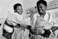 Two sisters, kidney donor and recipient for transplant operation at Groote Schuur hospital, Cape Town, South Africa