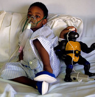 A young patient being treated for severe respiratory problems, New York hospital
