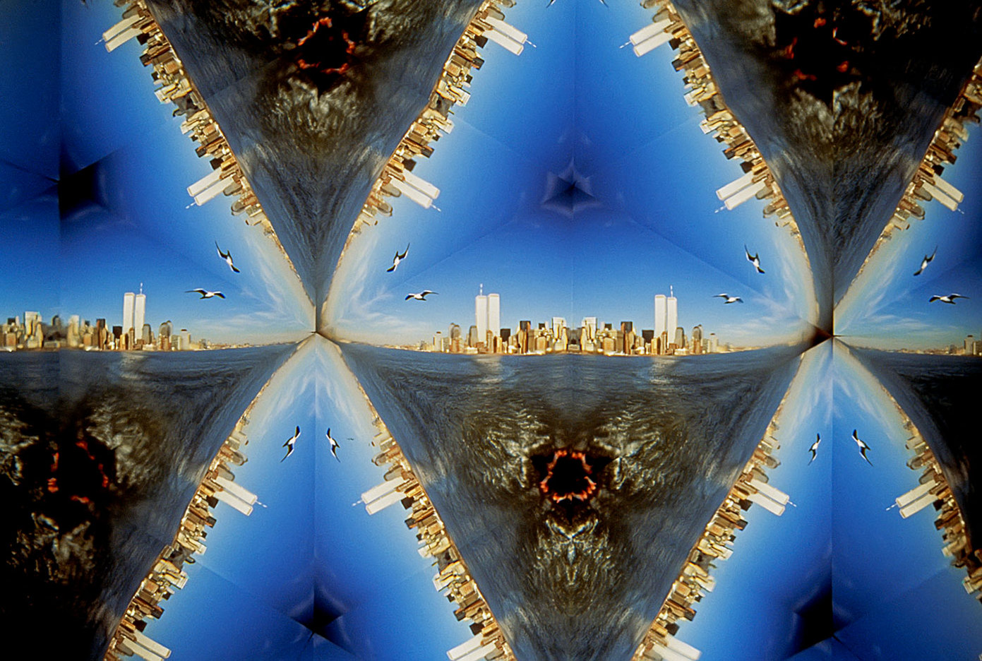 View of Manhattan shore and the Twin Towers photographed through a teleidoscope. : FEATURE: The WTC & I : Viviane Moos |  Documentary Photographer