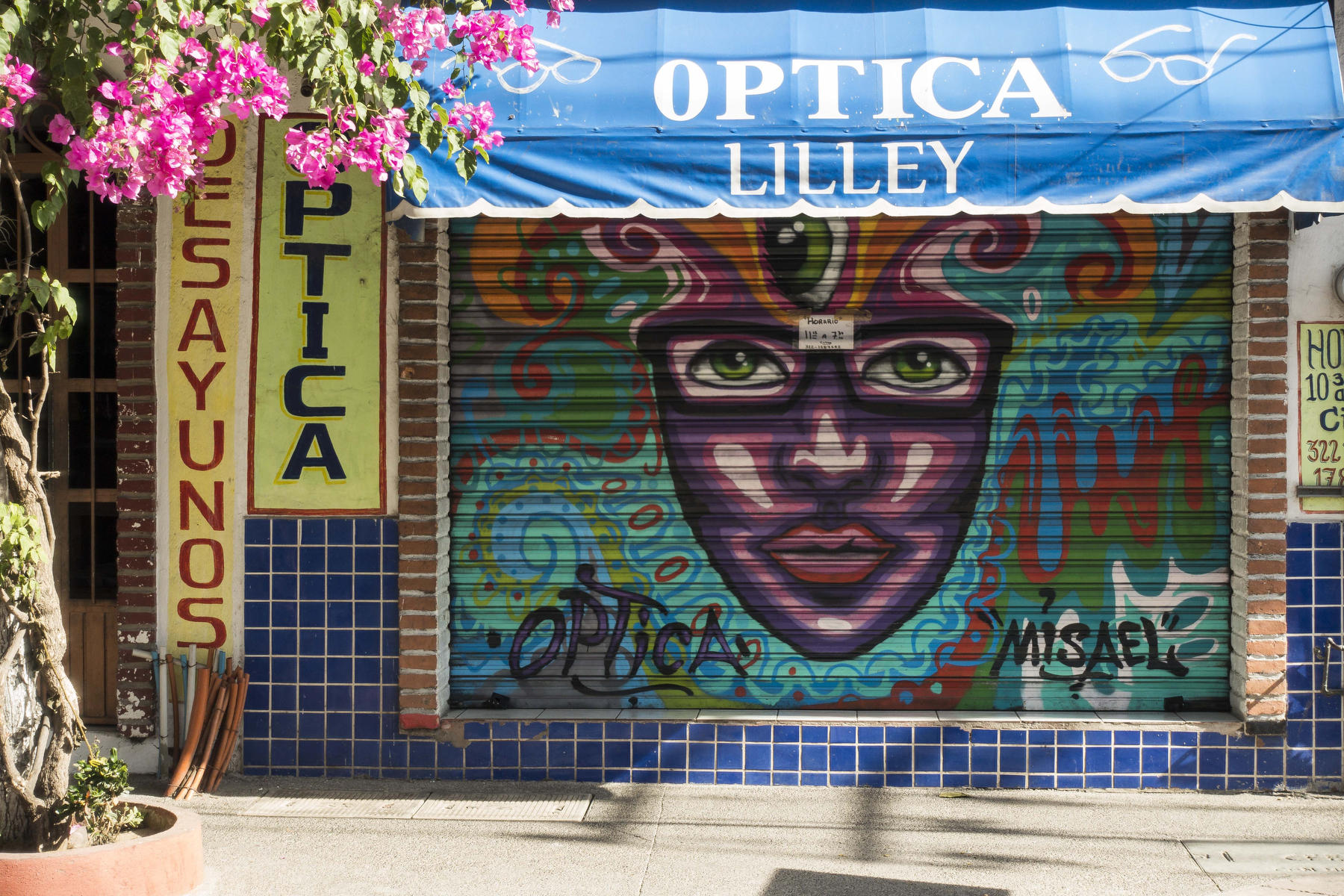 A face wearing glasses decorates the shutters of an optical store in Old Town. : PUERTO VALLARTA - Wall Art & Bicycle Tour : Viviane Moos |  Documentary Photographer