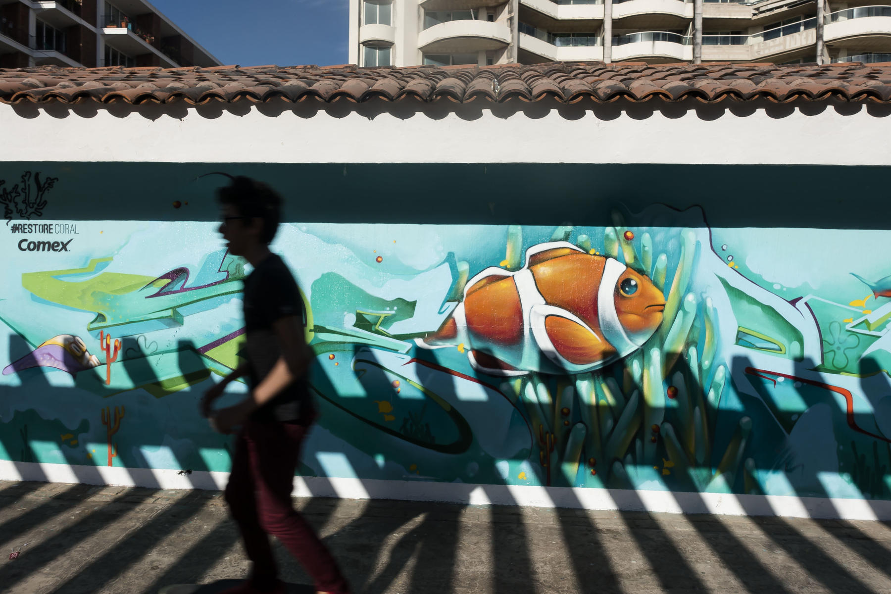 A skate boarder passes by the shadow of a fence on an underwater mural, painted as part of a Save the Reef project sponsored by a paint manufacturer : PUERTO VALLARTA - Wall Art & Bicycle Tour : Viviane Moos |  Documentary Photographer